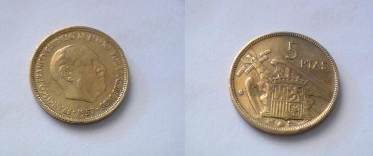 5 pesetas dorada. 776074792