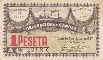 Billete local de Candás (Asturias) 918494442