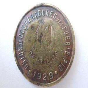 moneda ficha 1929 union de cooperadores del fuerte pio barcelona 10 centimos 317285564