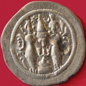 Dracma Sasanida de Hormazd IV, ceca WYHC (Fars),año 13 441410515